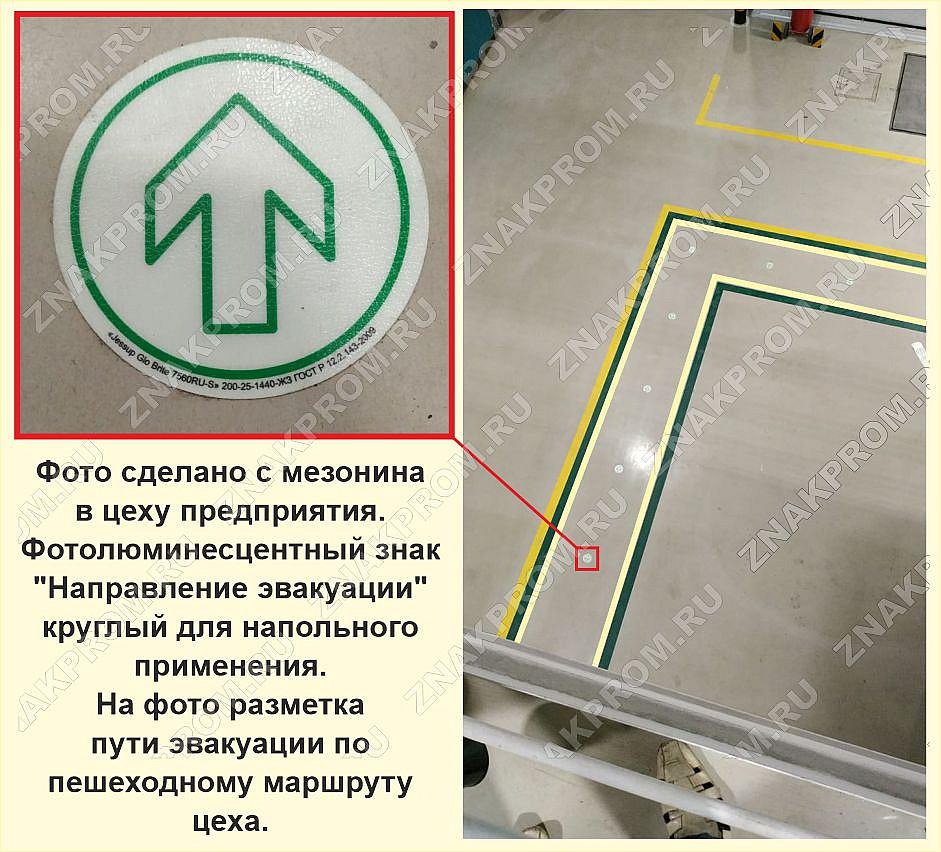 """Фотолюминесцентный знак """"Направление эвакуации"""" круглый для напольного применения"""